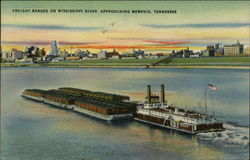 Freight Barges on Mississippi River