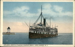 Steamer America Passing Newman Basin Postcard