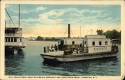 Old Chain Ferry Boat, Riverside, Rondoutand Port Ewen Ferry Postcard