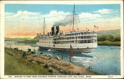 Boston to New York Steamer Passing Through Cape Cod Canal, Mass.
