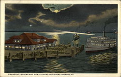 Steamboat Landing and Pier at Night Postcard