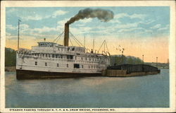 Steamer Passing Through N.Y.P. & N. Draw Bridge