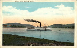 View of Steamer on the Water Postcard