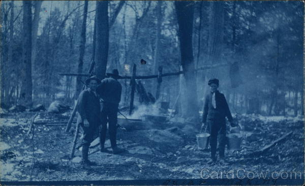 Men at a camp site Haliburton Canada Ontario Cyanotypes