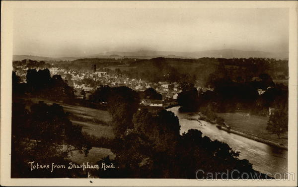 VIew of Town from Sharpham Road Totnes England