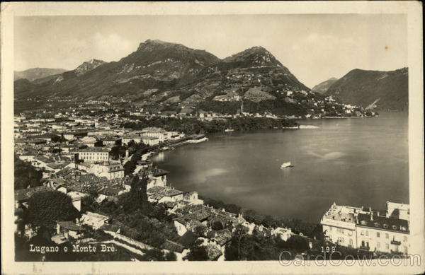 Aerial View of Town and Monte Bre Lugano Switzerland