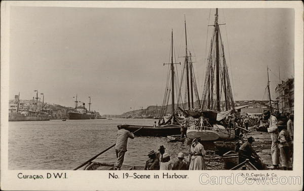 Scene in Harbour Curacao Dutch West Indies Caribbean Islands