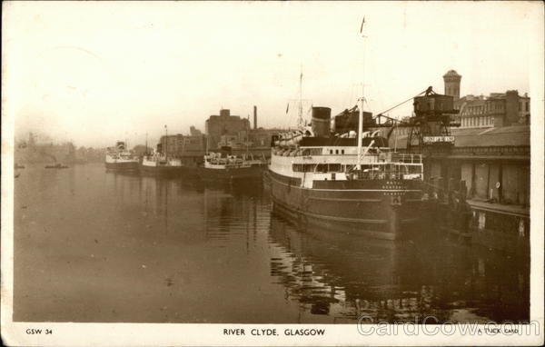 View of Boats Docked on the River Clyde Glasgow Scotland