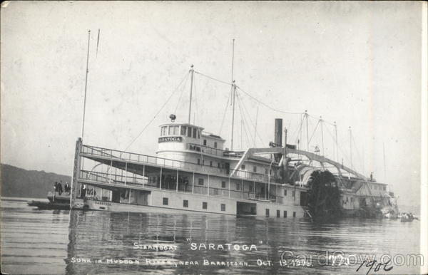 Steamboat Saratoga Sunk in Hudson RIver Barrytown New York