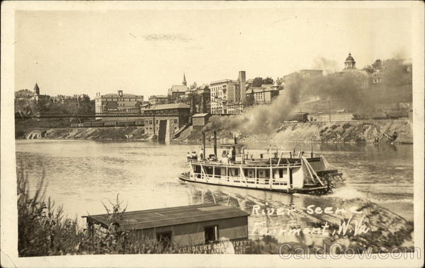 River Scene with Steamer Fairmont West Virginia