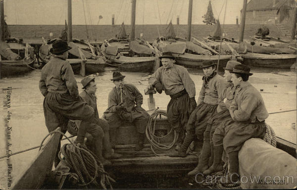 Fishermen on Boat Marken Netherlands Benelux Countries