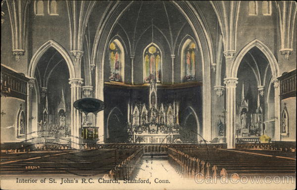 Interior of St. John's R.C. Church Stamford Connecticut