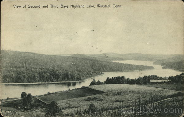 View of Second and Third Bays, Highland Lake Winsted Connecticut