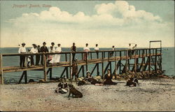 People on Beach and Pier