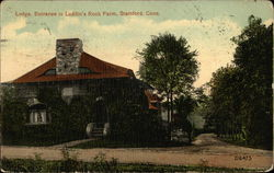 Lodge, Entrance to Laddin's Rock Farm Postcard