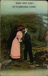 Man and Woman Kissing Postcard