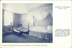Bedroom in Ellsworth Homestead Postcard