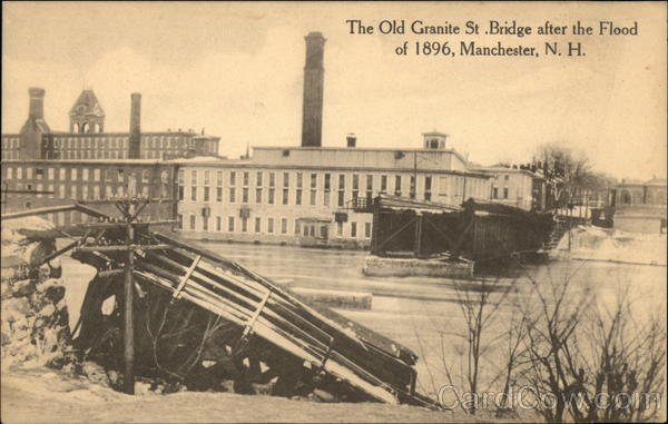Old Granite Street Bridge after Flood 1896 Manchester New Hampshire