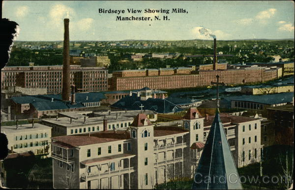 Bird's Eye View Showing Mills Manchester New Hampshire