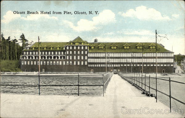 Olcott beach hotel from pier postcard for Pier hotel new york