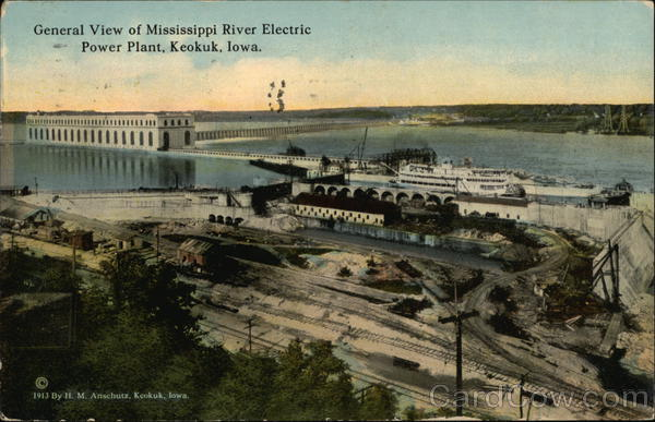 General View of Mississippi River Electric Power Plant Keokuk Iowa