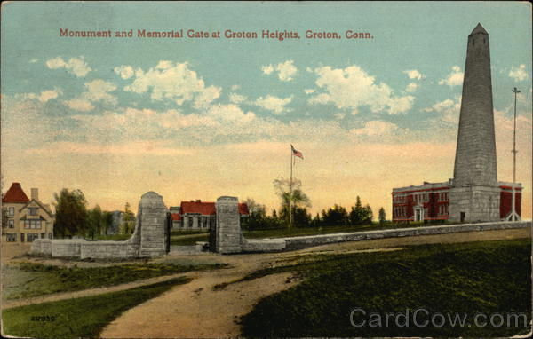Monument and Memorial Gate in Groton Heights Connecticut