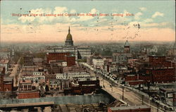 Bird's Eye of City and Capitol from Allegan Street