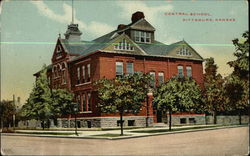 Street View of Central School Postcard