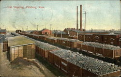 Coal Shipping Train Cars Postcard