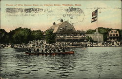 Finish of War Canoe Race on Charles River