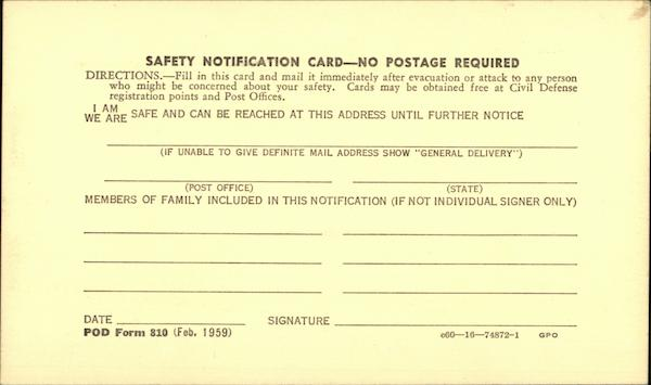 1959 Civil Defense Safety Notification Card Military