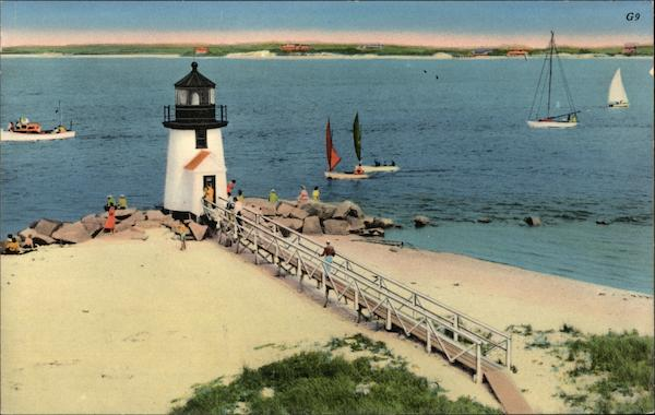 Scene at Brant Point Light Nantucket Massachusetts