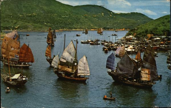 Aberdeen Harbor and Junks Hong Kong China