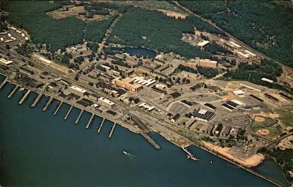 Aerial View of US Naval Subamarine Base, New London Groton Connecticut