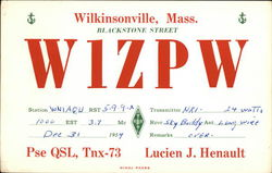 Call Sign W1ZPW - Lucie J. Henault, Wilkinsonville MA Postcard
