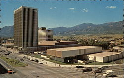 View of Penrose Public Library, Holly Sugar Building, May-D&F Dept Store, Antlers Plaza Hotel