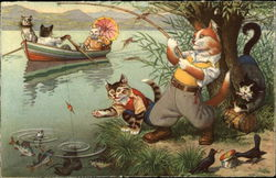Cats fishing and rowing in a river