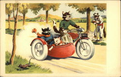 Cats riding a motorcycle with sidecar