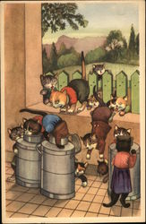 Cats drinking from milk cans