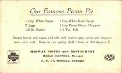 Midway Motel and Restaurant - Pecan Pie Recipe