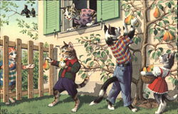 Cats picking pears