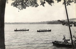Boys of Camp Wonposet Canoeing on Lake