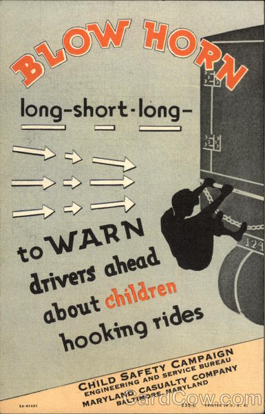 Blow Horn to Warn Drivers About Children Hooking Rides