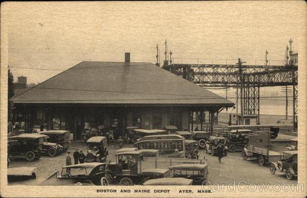 boston and maine depot ayer ma postcard