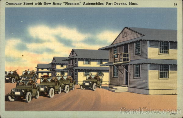 Company Street with New Army Phantom Automobiles Fort Devens Massachusetts