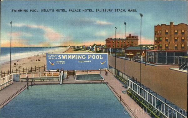 Swimming Pool Kelly S Hotel Palace Salisbury Beach Ma Postcard