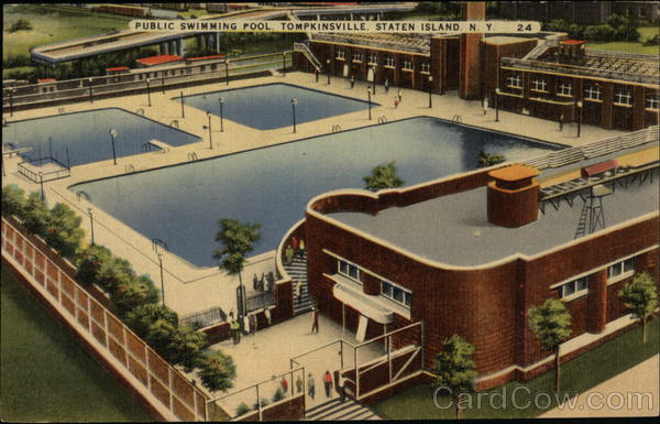 public swimming pool staten island ny postcard
