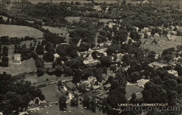 Aerial View of Lake and City Lakeville Connecticut
