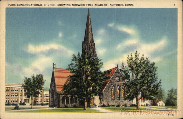 Park Congregational Church, showing Norwich Free Academy Connecticut