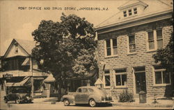 Post Office and Drug Store Postcard
